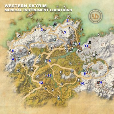 Western Skyrim Instrument Locations
