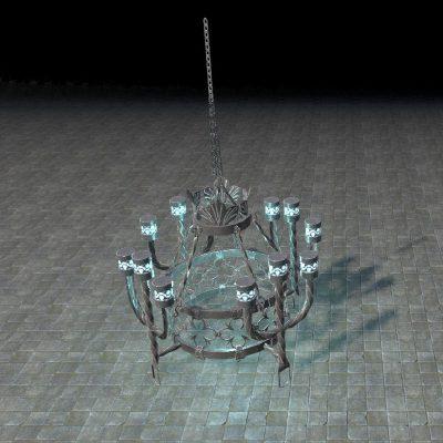 Vampiric Chandelier, Azure Wrought-Iron